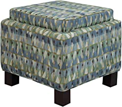 Madison Park Shelley Storage Ottoman with Reversible Tray - Solid Wood, Fabric Toy Chest - Green Abstract, Modern Style Footsool With Matching Pillows