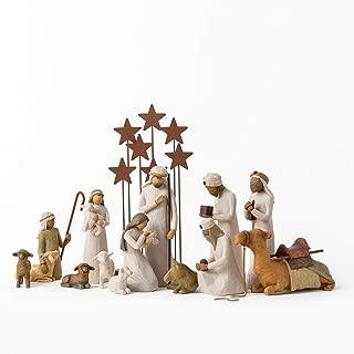 Willow Tree Nativity Starter Figures with The Three Wisemen Plus Metal Star Backdrop, 14-Piece Set