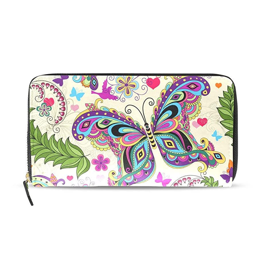 手術常習者今AOMOKI 財布 レディース 長財布 大容量 蝶柄 カラフル 花柄 ハート 鳥 ラウンドファスナー PUレザー 幅20*丈11cm