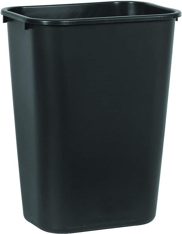 Rubbermaid Commercial Products FG295700BLA Plastic Resin Deskside Wastebasket 10 Gallon 41 Quart Black Pack Of 12