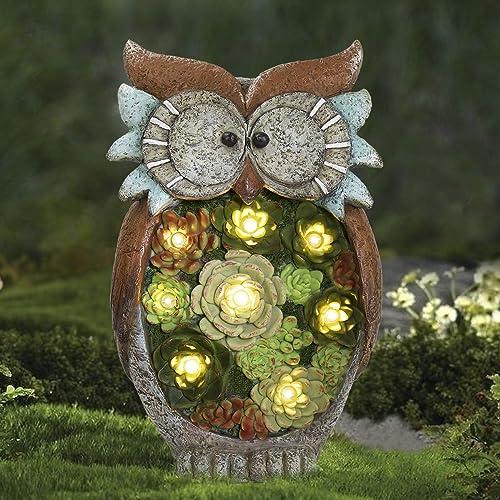 LA JOLIE MUSE Garden Statue Owl Figurine - Resin Statue with Solar LED Lights for Patio Yard Art Decor, Lawn Ornament...