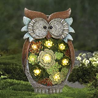 Garden Statue Owl Figurine - Resin Statue with Solar LED Lights for Patio Yard Art Decor Lawn Ornaments, Fall Winter Outdoor Christmas Decorations, 10.5 x 6 Inch, Housewarming Gift