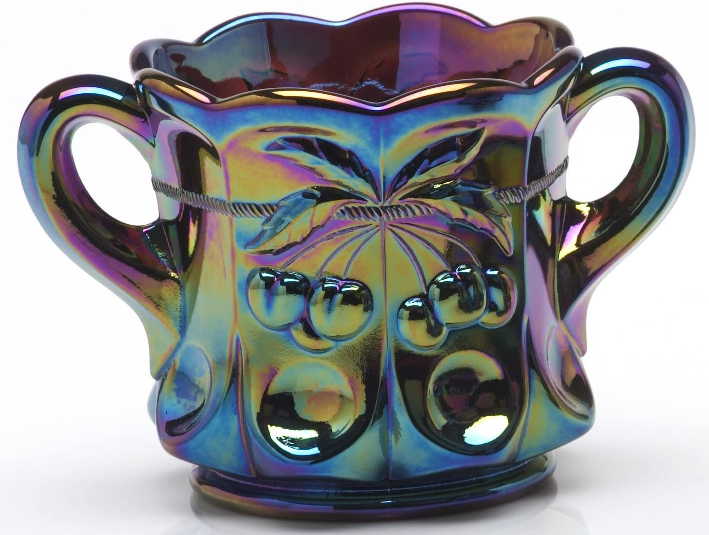 Sale SALE% OFF Sugar Bowl Many popular brands - Cherry Cable Pattern USA Glass Black Am Mosser