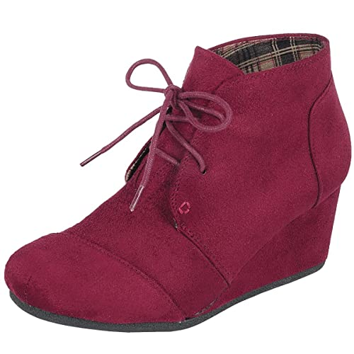 6d110072c6f Forever Link Women s Lace up Hidden Wedge Ankle Bootie