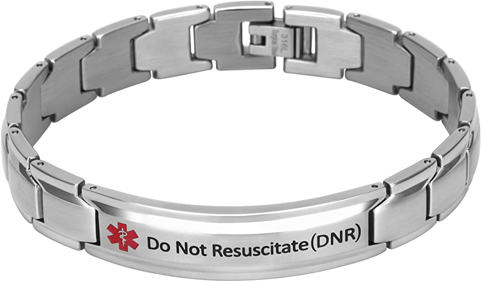 Elegant Surgical Grade Steel Medical Alert ID Bracelet for Men and Women (Men's, Do Not Resuscitate (DNR))