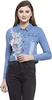 HeyTrend Women's Full Sleeve Denim Shirt with Flower Design