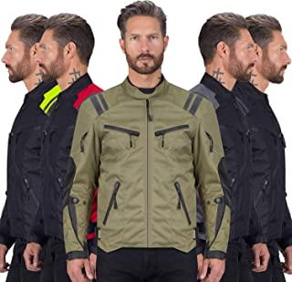 Viking Cycle Ironborn Protective Textile Motorcycle Jacket for Men - Waterproof, Breathable, CE Approved Armor for Bikers (Military Green, Medium)