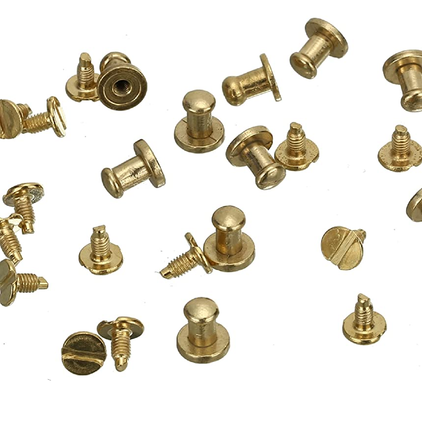 RUBYCA 30 Sets Gold Color Button Spike and Studs Metal Screw-Back Leather-craft DIY 8MM X 8MM