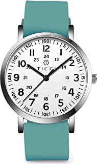 TICCI Unisex Men Women Medical Scrub Quartz Watch Arabic Numerals Military Time Easy Read Dial Silicone Band Waterproof for Students Doctors Nurses