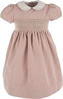 Girls Short Sleeve Smocked Mauve Dress