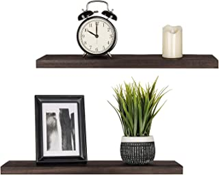 Mkono Floating Shelves Wood Wall Shelf Rustic Wall Mount Pine Shelf Set of 2 Home Decor Photo Display Ledges with Invisible Bracket for Living Room/Bedroom/Bathroom/Kitchen