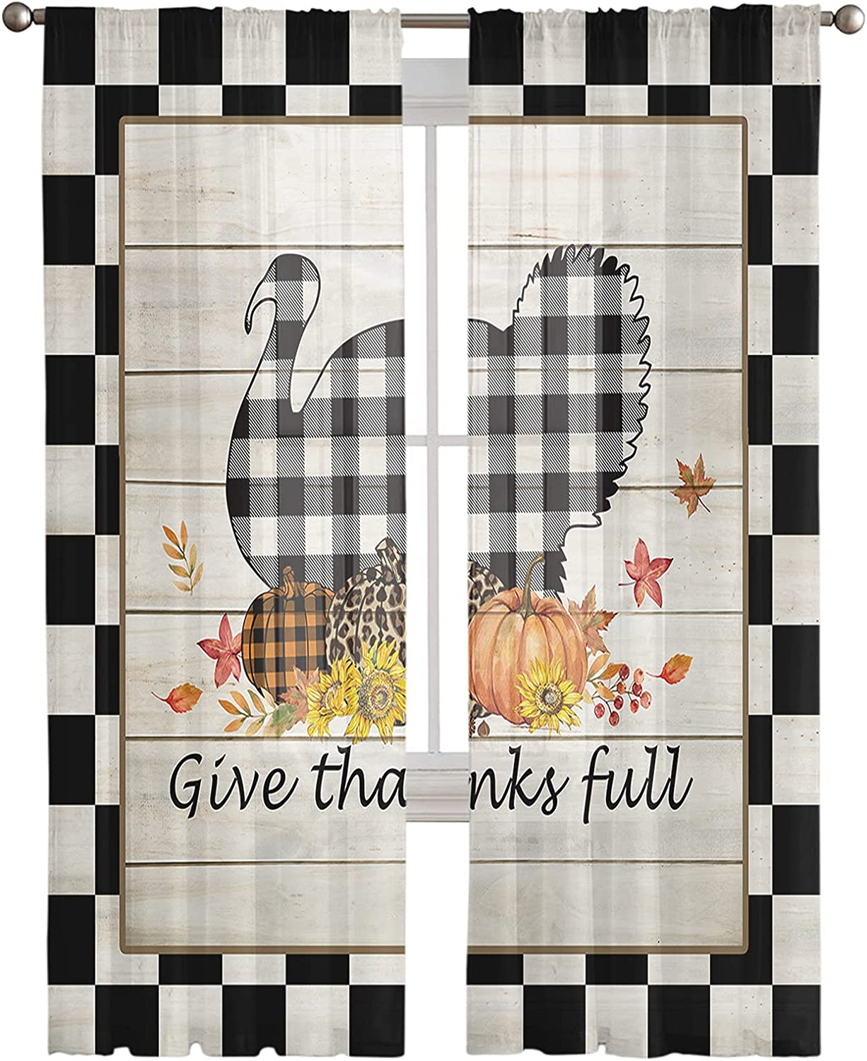 Window Curtain Large discharge sale Semi Sheer Voile Thanksgiving Courier shipping free Panel Plaid Drapes