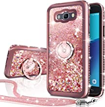 Galaxy J3 V / J3V Case,Galaxy Sky/Amp Prime/Express Prime / J3 / Sol Case, Silverback Girls Women Moving Liquid Holographic Glitter Case with Ring Stand Bling Case for Samsung J3 2016/2015 -RD