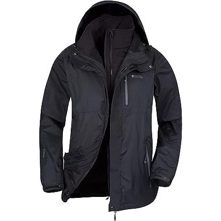 Mountain Warehouse Bracken Extreme Mens 3 in 1 Waterproof Jacket – Adjustable Mens Coat, Warm Rain Jacket, Headphone Compatible Outerwear – for Winter Camping, Walking