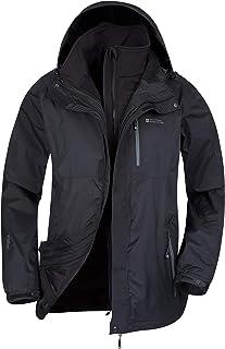 Mountain Warehouse Bracken Extreme Mens 3 in 1 Waterproof Jacket – Adjustable Mens Coat, Warm Rain Jacket, Headphone Compa...