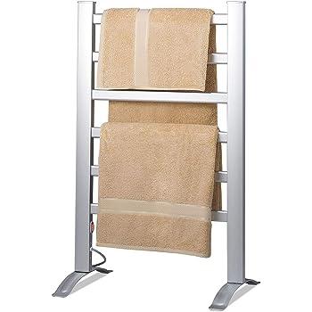 Knox Gear Aluminum Towel Warmer Rack - Freestanding and Wall Mountable - 6 Bar Electric Warm Bath Towel Heater
