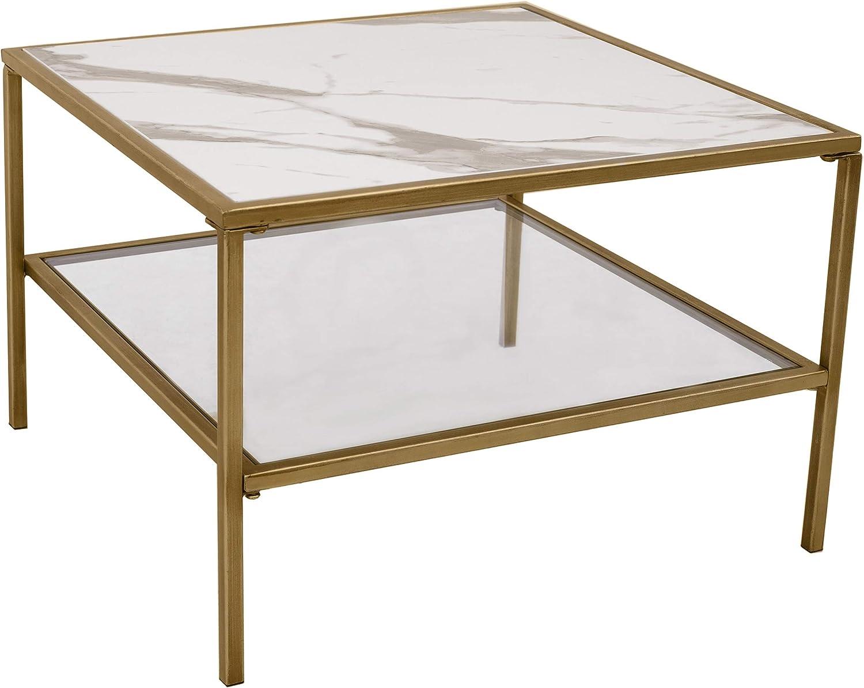 Ravenna Home Parker Large Shelf Storage End Table, 23.6 W, Faux Marble & gold