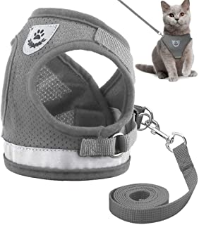Reflective Cat Harness and Leash Set Escape Proof Kitten Puppy Dogs Vest Harness Leads Mesh Pet Clothes for Small Dogs Chihuahua Yorkies Pug (L)