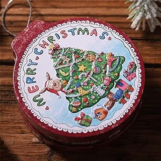 Jeash Christmas Tin Gift Box Candy &Cookie Storage Box Hanging Tree Xmas Decor