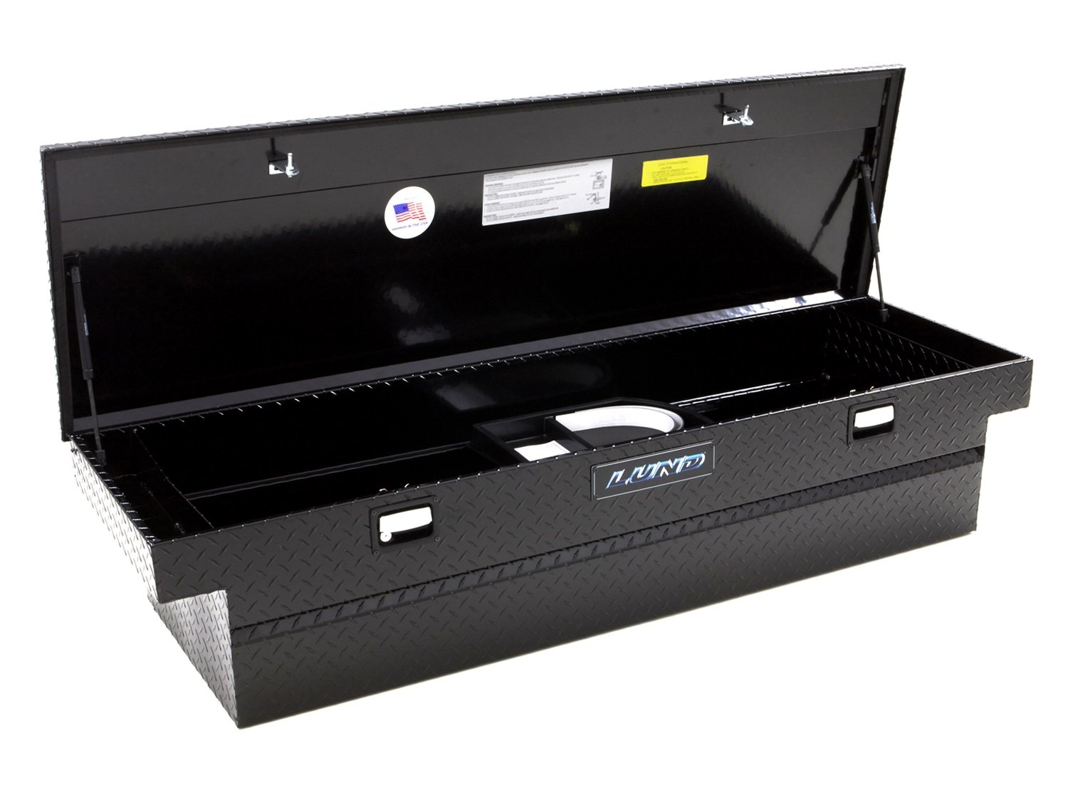 Amazon Com Lund 79304 63 Inch Mid Size Aluminum Cross Bed Truck Tool Box With Low Profile Diamond Plated Black Automotive