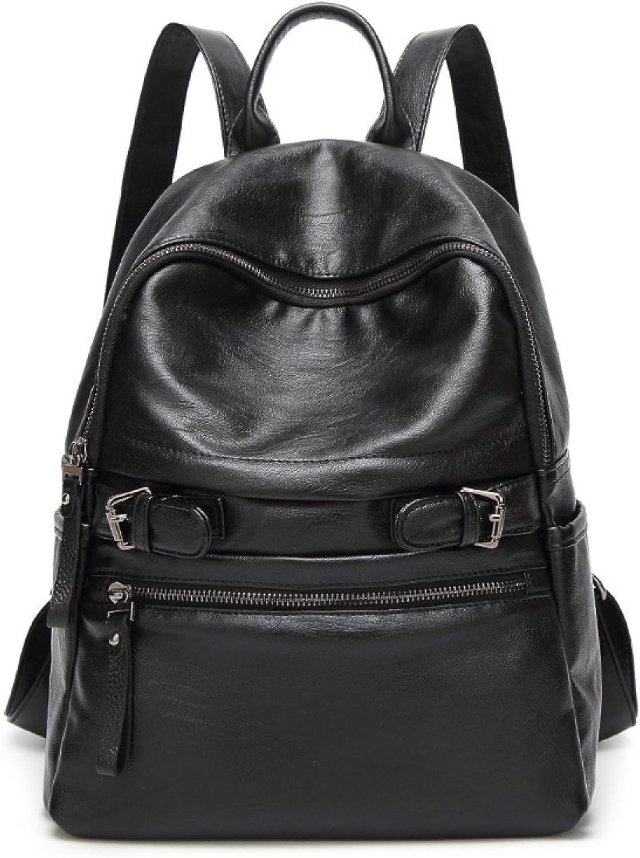 Korean Casual Soft Leather Backpack College Students Bag,BlackOneSize