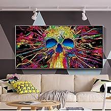 Cráneo colorido Graffiti Arte de la pared Pinturas sobre lienzo Arte abstracto de la calle Carteles e impresiones sobre lienzo Cuadros decorativos 50x100cm