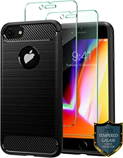 comprar comparacion J Jecent Funda iPhone 8 Funda iPhone 7 + Protector de Pantalla iPhone 7/8 2 Piezas, Carcasa Textura Fibra de Carbono S...