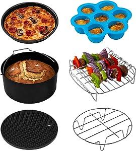 COSORI Accessories XL, Set of 6 Fit all 5.8Qt, 6Qt Air Fryer BPA Free, Dishwasher Safe, Non-stick Coating, C158-6AC, Black