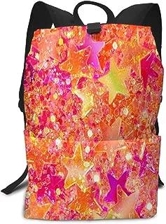 Travel Backpack Pink Star Neon Light College Back Pack Laptop Rucksack Daypack