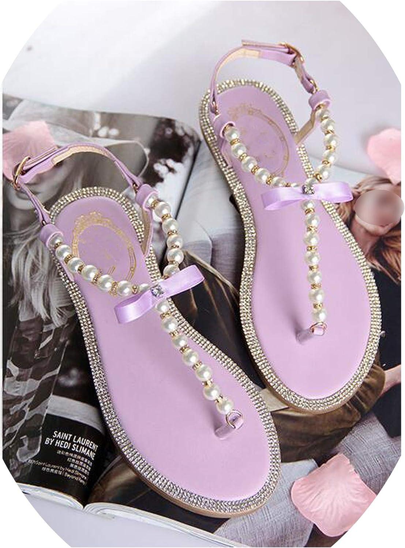 Luxury Style Rhinestone Pearl Slip-on Women Sandals Beading Fringed Lady Flats shoes Clip-Toe flip-Flops shoes