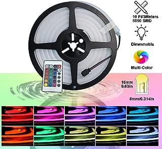 Luz de cuerda YXH Neon Led RGB, flexible/impermeable/multicolor/control remoto para el hogar/jardín/decoración arquitectónica (10 pies / 3 metros, RGB)
