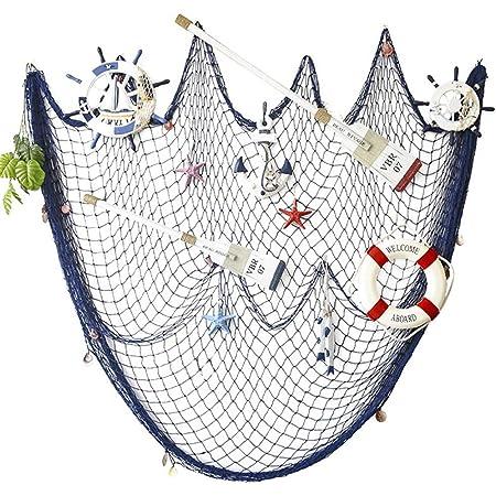 AOFOX Filet de pêche décoratif pour décoration de fête Motif Pirate de l'océan méditerranéen, Bleu, 2M x 4M
