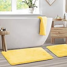 "Memory Foam Bathrug 2 Pack Set - Mellow Yellow - Bath Mat and Shower Rug Large 20"" x 32"" Inches, Non Slip Latex Free Plush..."
