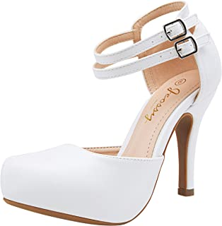 Women's Stiletto High Heels Mary Jane Ankle Strap Pumps Almond Toe Dress Shoes
