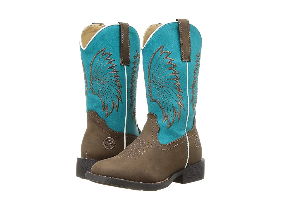 Roper Kids Big Chief (Toddler/Little Kid) (Brown Faux Leather/Turquoise Headdress) Cowboy Boots