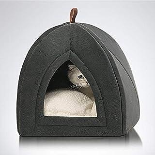 Bedsure Cama Gato Cueva Suave - Casa Gato Mediano Lavable con Cojín Desenfundable y Extraíble, Camas para Perros Pequeños 35x35x38cm, Gris Oscuro