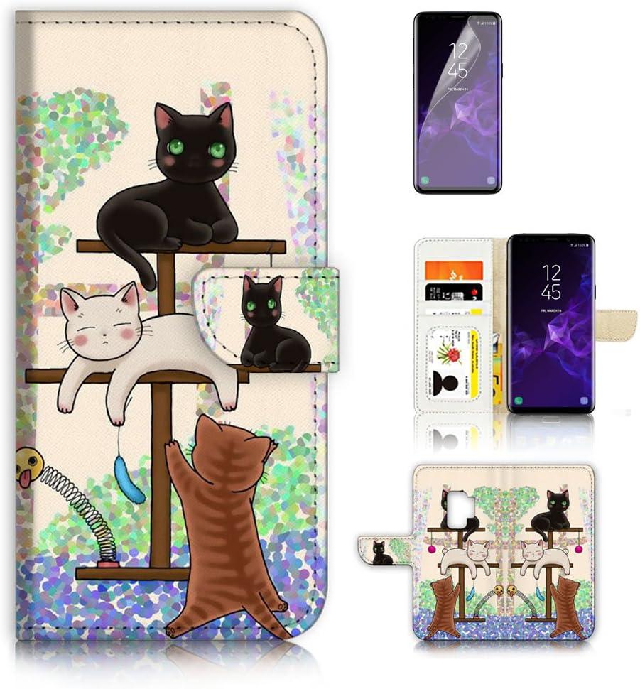 (for Samsung Galaxy S9) Flip Wallet Case Cover & Screen Protector Bundle - A1944 Cartoon Cat