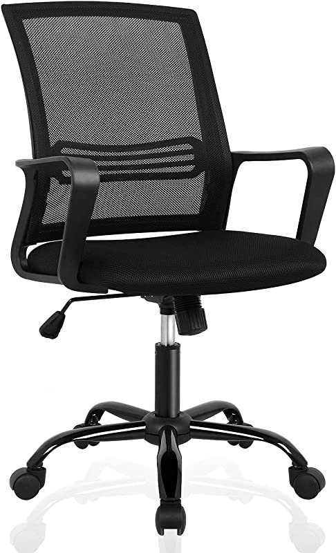 Office Chair Mid Back Mesh Office Computer Swivel Desk Task Chair Ergonomic Executive Chair With Armrests