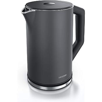 Arendo - Edelstahl Wasserkocher mit Temperatureinstellung 40-100 Grad in 5er Schritten - Doppelwand Design - Modell ELEGANT - 1,5 Liter - 2200 W - Teekocher mit Temperaturanzeige - GS - Cool Grey