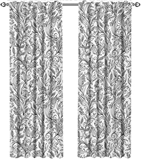 shenglv Floral, Curtains Elegant, Flowers Swirls Ivy with Leaves Eastern Modern Paisley Inspired Image Sketch Art, Curtains Girls Bedroom, W84 x L96 Inch, Black and White