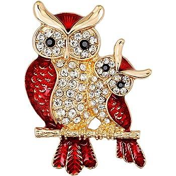Potelin Premium Quality Women Enamel Owl Shape Rhinestones Brooch Pins Brooches Clip Gift for Female