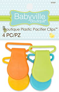 Babyville Boutique 35326 Pacifier Clips, Orange, Yellow, Light Green & Turquoise (4-Count)