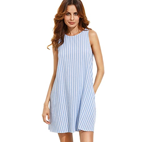 b7212c03f581 SheIn Women's Stripe Button Keyhole Back Swing Dress Blue Small