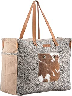 Sixtease Blossom Upcycled Canvas & Genuine Leather Weekender Bag SB-2011