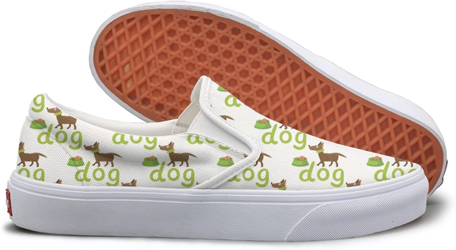 Lalige Happy Dog with Bowl Womens Classic Canvas Slip-ONS Walking shoes