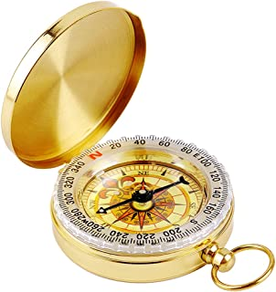 Military Compass Glow in The Dark, MAXIN Portable Pocket Watch Flip-Open Compass Waterproof for Camping, Hiking and Other ...