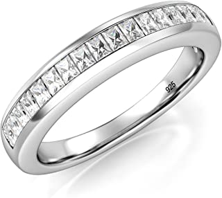 3MM Sterling Silver Baguette CZ Half Eternity Cubic Zirconia Ring