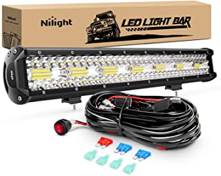 Nilight ZH409 20Inch 420W Triple Row Flood Spot Combo 42000LM LED Light Bar with Heavy Duty Off-Road Wiring Harness, 2 Yea...