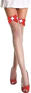 Women's Cross and Satin Bow Nurse Diamond Net Thigh High Tights