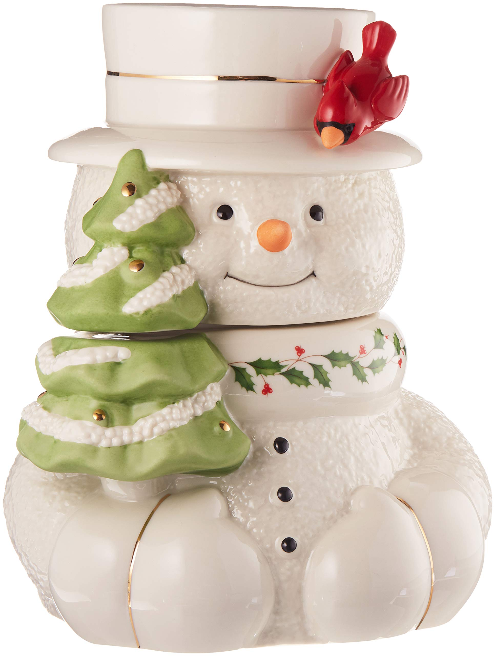 Image of Porcelain Lenox Happy Holly Days Snowman Cookie Jar